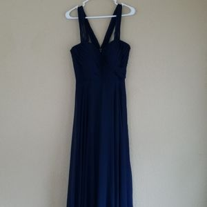 Dessy Collection Vivian Diamond Navy Formal Gown